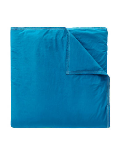 Lacoste Washed Solid Twin/Twin XL 200-300 Thread Count Duvet Cover Set-DARK BLUE-Twin XL