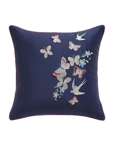 Ted Baker London Embroidered Butterfly and Flower Cushion-NAVY-16X16