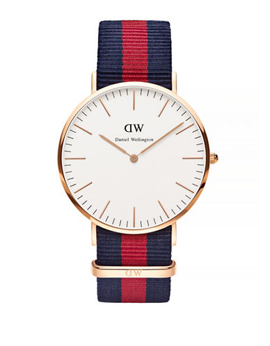Daniel Wellington Oxford NATO Strap Goldplated Watch-RED-One Size
