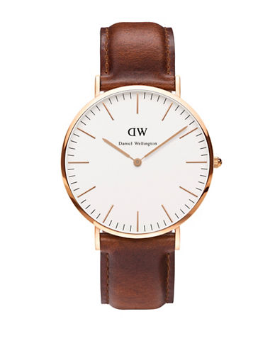 Daniel Wellington Classic St Mawes 40mm Leather Strap Watch-BROWN-One Size