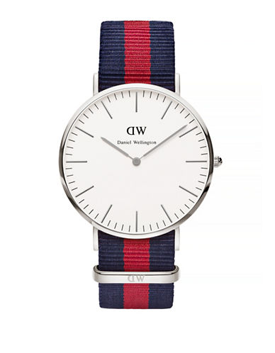 Daniel Wellington Oxford NATO Strap Stainless Steel Watch-BLUE-One Size