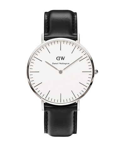 Daniel Wellington Classic Sheffield 40mm Leather Strap Watch-BLACK-One Size
