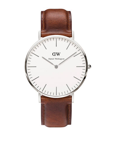 Daniel Wellington Classic St Mawes 40mm Leather Strap Watch-SILVER-One Size