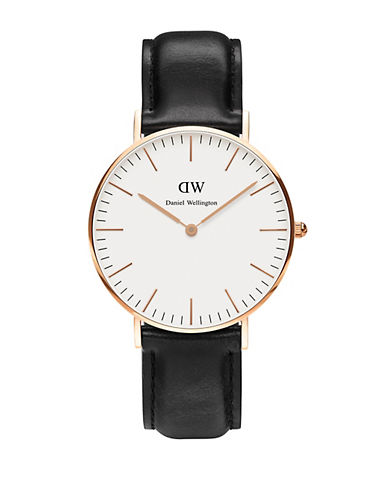 Daniel Wellington Sheffield Classic 36mm Leather Watch-BLACK-One Size