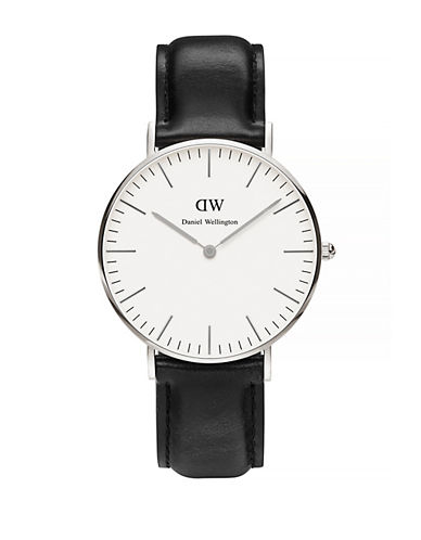 Daniel Wellington Classic Sheffield 36mm Leather Watch-BLACK-One Size