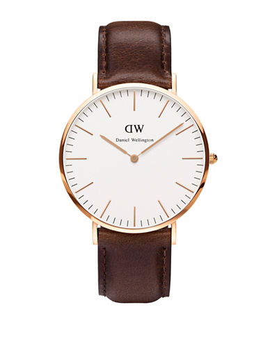 Daniel Wellington Classic Bristol 40mm Leather Strap Watch-BROWN-One Size