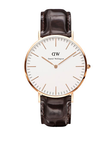 Daniel Wellington Classic York 40mm Leather Strap Watch-BROWN-One Size