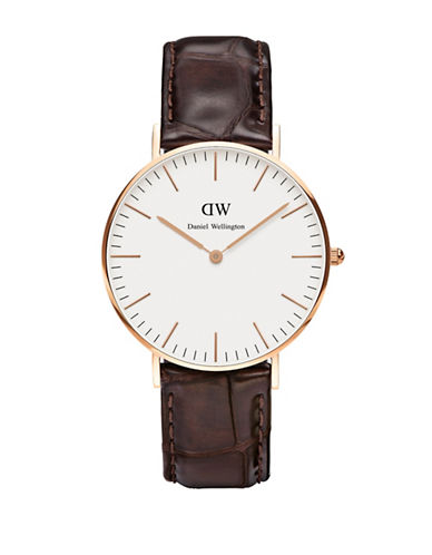 Daniel Wellington York Classic 36mm Leather Watch-BROWN-One Size