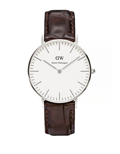 Daniel Wellington Classic York 36mm Embossed Leather Watch-BROWN-One Size
