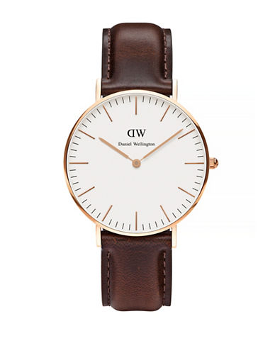 Daniel Wellington Classic Bristol Leather 36mm Watch-BROWN-One Size