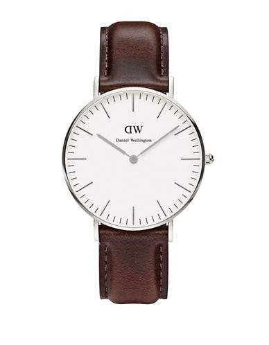 Daniel Wellington Bristol Classic Leather Watch-BROWN-One Size