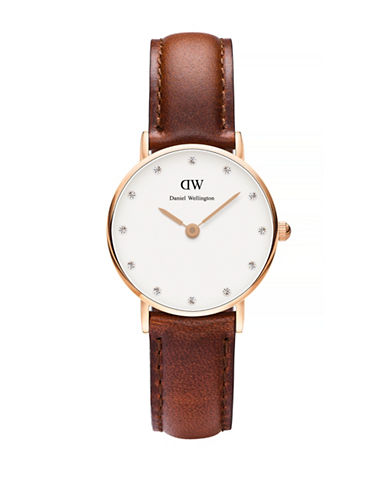 Daniel Wellington Classy St. Mawes 26mm Leather Watch-BROWN-One Size