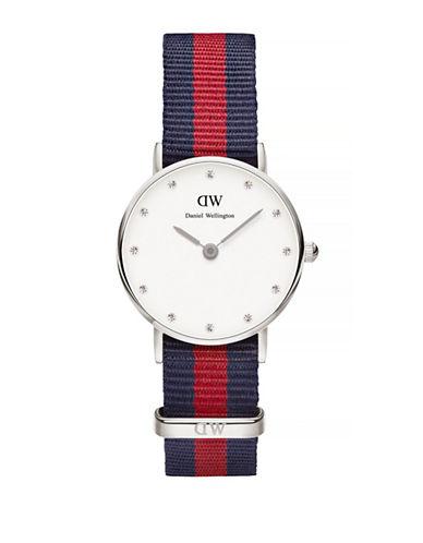 Daniel Wellington Classy Oxford NATO Silvertone Watch-RED-One Size