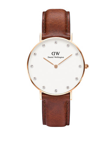 Daniel Wellington Classy Lady St.Mawes Leather Watch-BROWN-One Size