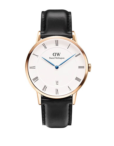Daniel Wellington Dapper Sheffield 38mm Leather Watch-BLACK-One Size