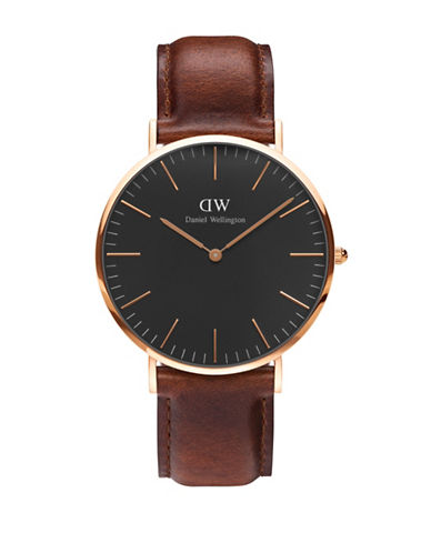 Daniel Wellington Analog Classic Black Goldtone and Leather Watch-BROWN-One Size