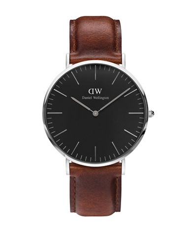 Daniel Wellington St Mawes Leather Band Watch-BROWN-One Size