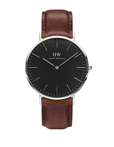 Daniel Wellington Bristol Leather Strap Watch-BROWN-One Size