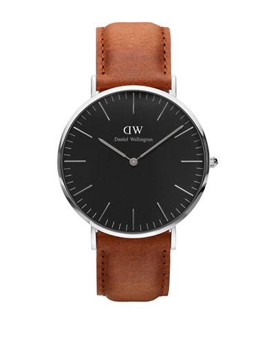 Daniel Wellington Durham Leather Strap Watch-BROWN-One Size