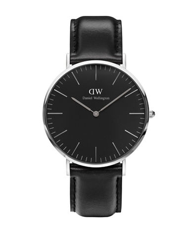 Daniel Wellington Sheffield Leather Strap Watch-BLACK-One Size