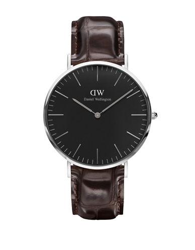 Daniel Wellington York Leather Strap Watch-BROWN-One Size