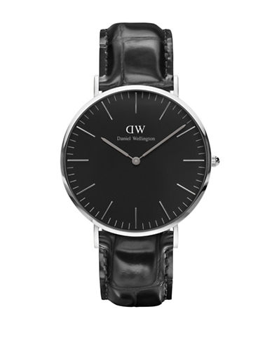 Daniel Wellington Reading Leather Strap Watch-BLACK-One Size