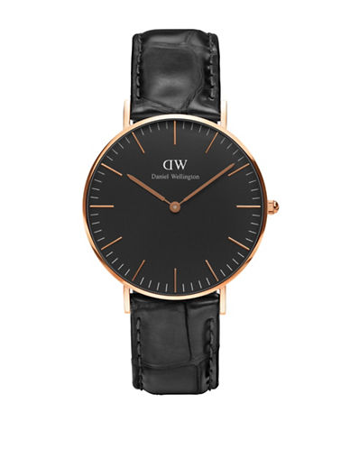 Daniel Wellington Analog Classic Black Goldtone and Leather Watch-BLACK-One Size