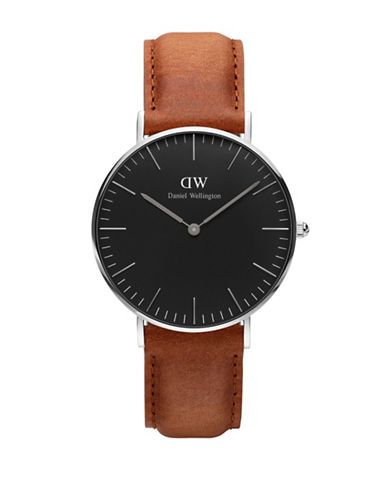 Daniel Wellington Analog Classic Black Stainless Steel and Leather Watch-BROWN-One Size