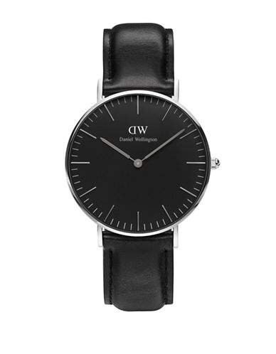 Daniel Wellington Analog Classic Black Stainless Steel and Leather Watch-BLACK-One Size