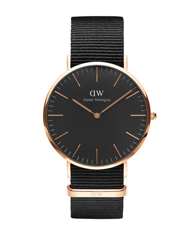 Daniel Wellington Cornwall Goldtone Nylon Strap Watch-BLACK-One Size