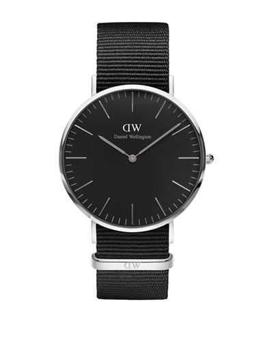 Daniel Wellington Analog Classic Stainless Steel and Leather Watch-BLACK-One Size