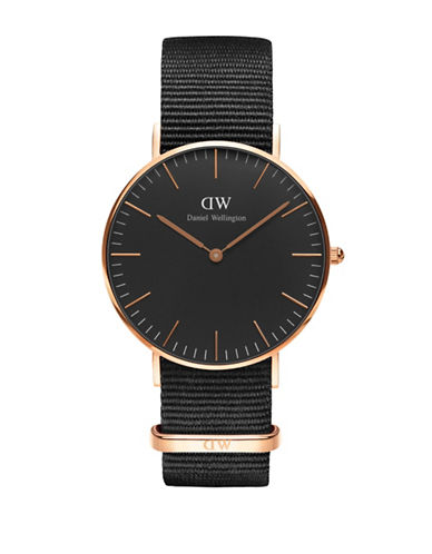 Daniel Wellington Analog Classic Stainless Steel and Nylon Watch-BLACK-One Size