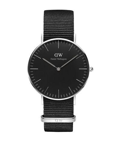 Daniel Wellington Cornwall Silvertone Nylon Strap Watch-BLACK-One Size
