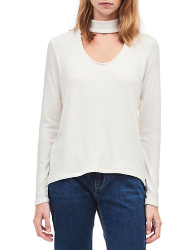 Calvin Klein Jeans Long-Sleeve Ribbed Choker Top-WHITE-Large