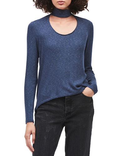 Calvin Klein Jeans Long-Sleeve Ribbed Choker Top-BLUE-X-Small
