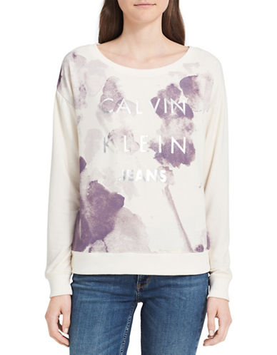 Calvin Klein Jeans Watercolour Logo Sweatshirt-NATURAL-Small