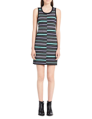 Calvin Klein Jeans Ribbed Striped Dress-BLACK-X-Large
