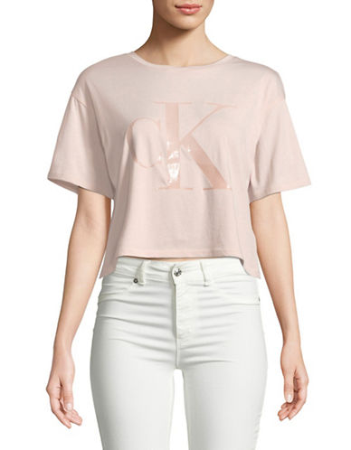 Calvin Klein Jeans Reissue Gel Cropped Tee-PINK-Large