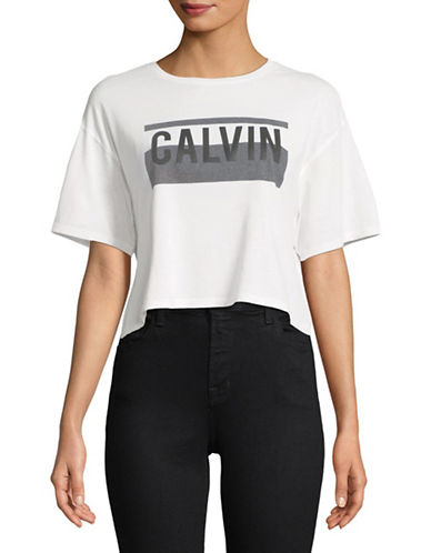 Calvin Klein Jeans Graphic Cropped Tee-WHITE-X-Small