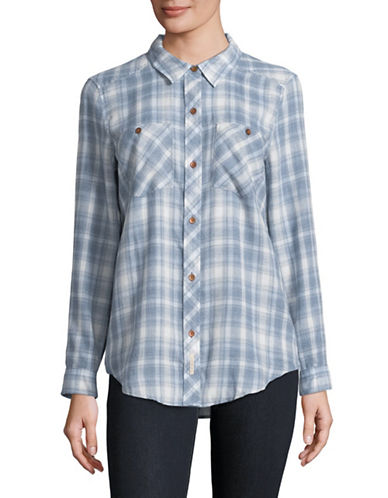 Calvin Klein Jeans Frosted Plaid Flannel Button-Down Shirt-BLUE-Small