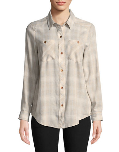 Calvin Klein Jeans Frosted Plaid Flannel Button-Down Shirt-PINK-X-Large