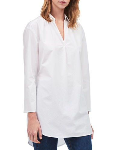 Calvin Klein Jeans Cotton Popover Tie Long-Sleeve Top-STANDARD WHITE-Small