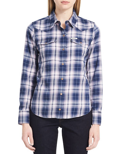 Calvin Klein Jeans Plaid Cotton Shirt-PURPLE-Large