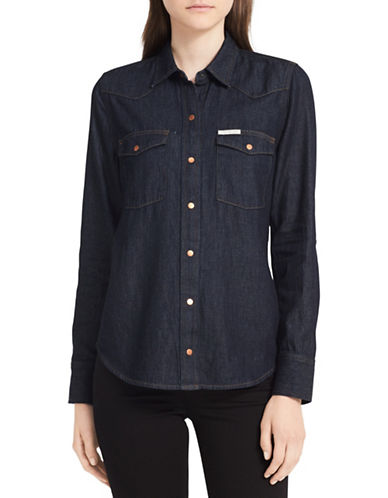 Calvin Klein Jeans Rinse Denim Edge Western Shirt-BLUE-Small