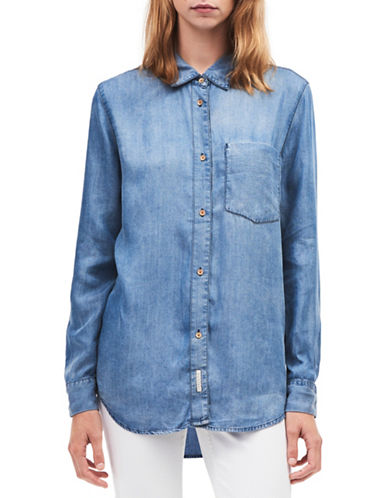 Calvin Klein Jeans Denim Button-Down Shirt-BLUE-X-Small