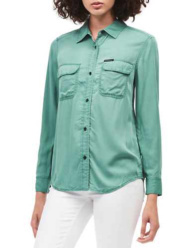 Calvin Klein Jeans Regular-Fit Button-Down Shirt-GREEN-X-Small