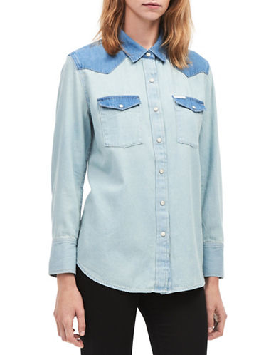 Calvin Klein Jeans Iconic Blocked Western Shirt-BLUE-Large
