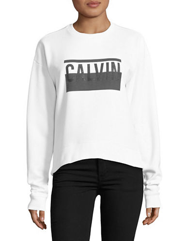 Calvin Klein Jeans Graphic Logo Sweatshirt-WHITE-X-Small