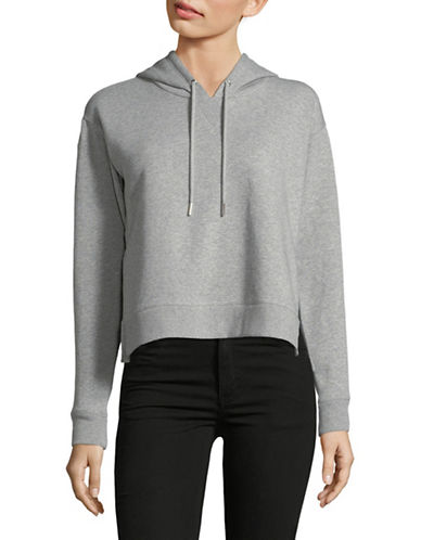 Calvin Klein Jeans Cropped Heathered Hoodie-GREY-Medium 89761575_GREY_Medium
