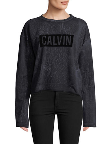Calvin Klein Jeans Textured Cotton Sweatshirt-GREY-X-Small